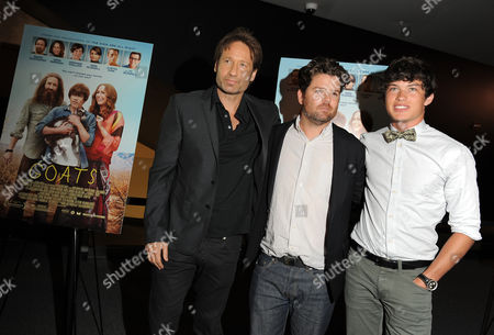 "David Duchovny, Christopher Neil and Graham Phillips attend the premiere of ""Goats"" at The Landmark Theater on in Los Angeles"