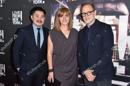 "Bao Nguyen, from left, Sarah Cowperthwaite, and Tom Broecker arrive at the Los Angeles Premiere Of ""Live from New York!"" - Arrivals at Landmark Theatres, Westside Pavilion, in Los Angeles"