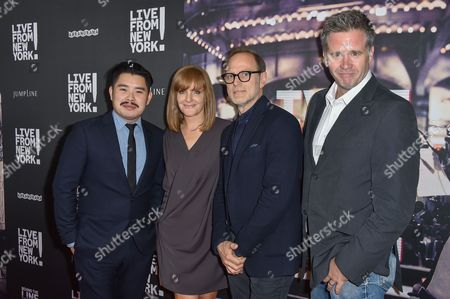 "Bao Nguyen, from left, Sarah Cowperthwaite, Tom Broecker and Owen Moogan arrive at the Los Angeles Premiere Of ""Live from New York!"" - Arrivals at Landmark Theatres, Westside Pavilion, in Los Angeles"