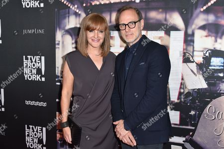 "Sarah Cowperthwaite, left and Tom Broecker arrive at the Los Angeles Premiere Of ""Live from New York!"" - Arrivals at Landmark Theatres, Westside Pavilion, in Los Angeles"