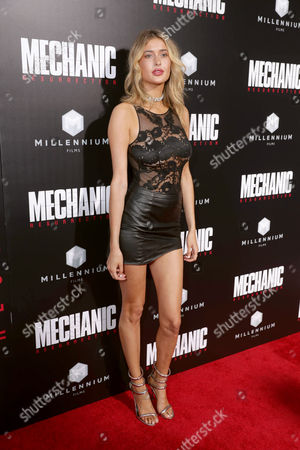 "Gemma Vence seen at Los Angeles Premiere of ""Mechanic: Resurrection"" from Lionsgate's Summit Premiere Label at ArcLight Hollywood, in Los Angeles"