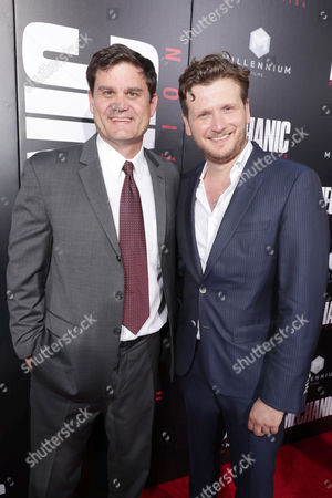 """Jason Constantine, President of Acquisitions and Co-Productions, Lionsgate Motion Picture Group, and Director Dennis Gansel seen at Los Angeles Premiere of """"Mechanic: Resurrection"""" from Lionsgate's Summit Premiere Label at ArcLight Hollywood, in Los Angeles"""