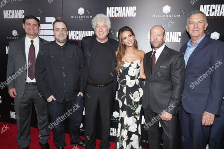 """Jason Constantine, President of Acquisitions and Co-Productions, Lionsgate Motion Picture Group, Jean McDowell, SVP of Marketing and Research, Lionsgate, Executive Producer Avi Lerner, Jessica Alba, Jason Statham and Steve Beeks, Co-Chief Operating Officer and Co-President, Lionsgate Motion Picture Group, seen at Los Angeles Premiere of """"Mechanic: Resurrection"""" from Lionsgate's Summit Premiere Label at ArcLight Hollywood, in Los Angeles"""