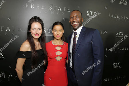 "Associate Producer Diana Alvarez, Gugu Mbatha-Raw and Mahershala Ali seen at Los Angeles Premiere of STX Entertainment ""Free State of Jones"" at DGA Theater, in Los Angeles"