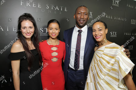 "Associate Producer Diana Alvarez, Gugu Mbatha-Raw, Mahershala Ali and Amatus Ali seen at Los Angeles Premiere of STX Entertainment ""Free State of Jones"" at DGA Theater, in Los Angeles"