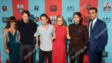 """Lea Michelle, Chord Overstreet, Kevin McHale, Becca Tobin, Darren Criss and Jacob Artist seen at Premiere Screening Of """"American Horror Story: Freak Show"""" - Arrivals at TCL Chinese Theatre, in Los Angeles, Calif"""