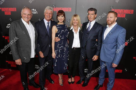 """Bill Smitrovich, Director Roger Donaldson, Olga Kurylenko, Producer Beau St. Clair, Pierce Brosnan and Relativity Media CEO Ryan Kavanaugh seen at The World Premiere of """"The November Man""""on at the TCL Chinese Theatre in Los Angeles"""