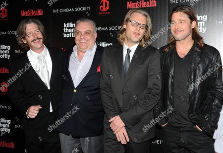 """Stock Image of From left, Ben Mendelsohn, Vincent Curatola, Andrew Dominik and Brad Pitt attend a special screening of """"Killing Them Softly"""" hosted by The Cinema Society, Men's Health and DeLeon at the SVA Theater on in New York"""