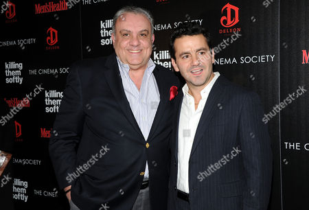 """Actors Vincent Curatola, left, and Max Casella attend a special screening of """"Killing Them Softly"""" hosted by The Cinema Society, Men's Health and DeLeon at the SVA Theater on in New York"""