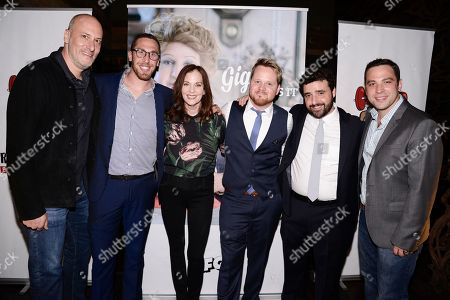 From left to right, Grandma's House Entertainment co-founder and principle Adam Bold, co-founder Dan Newmark, actress Lesley Ann Warren, actor Ricky Mabe, actor David Krumholtz, and co-founder Ben Newmark seen at the screening of IFC's new television series 'Gigi Does It' at iPic Theaters on in Los Angeles