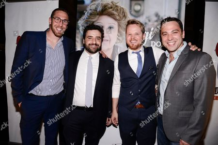 "From left to right, Grandma's House Entertainment co-founder and executive producer Dan Newmark, actor David Krumholtz, actor Ricky Mabe, and co-founder and executive producer Ben Newmark seen at the screening of IFC's new television series ""Gigi Does It"" at iPic Theaters on in Los Angeles"