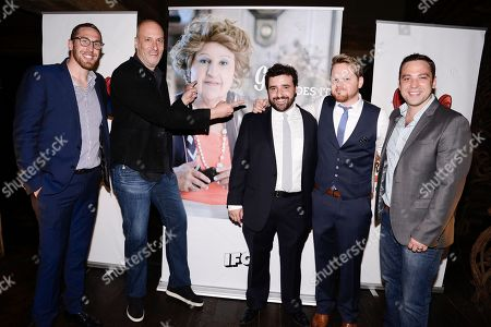 From left to right, Grandma's House Entertainment co-founder and executive producer Dan Newmark, co-founder and principle Adam Bold, actor David Krumholtz, actor Ricky Mabe, and co-founder and executive producer Ben Newmark seen at the screening of IFC's new television series 'Gigi Does It' at iPic Theaters on in Los Angeles