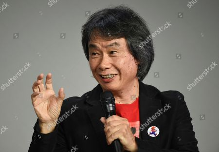 Japanese video game designer and producer Shigeru Miyamoto makes an appearance at the Apple SoHo store to promote Super Mario Run for iOS, in New York