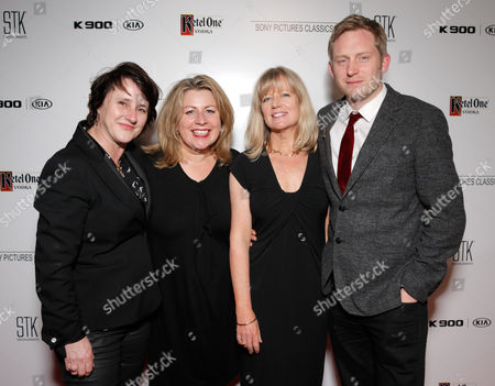 Charlotte Watts, from left, Suzie Davies, Georgina Chapman and Dan Taylor are seen at the Sony Pictures Classics Oscar Nominees Gala at Supper Suite at STK hosted by Ketel One Vodka, in Los Angeles, Calif