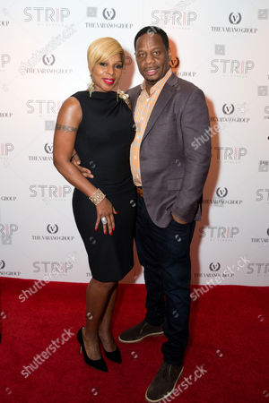 Kendu Isaacs and Mary J. Blige attend the STRIP by Strega Opening Party at the newly renovated Boston Park Plaza Hotel on in Boston