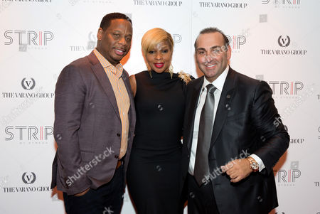 Kendu Isaacs, Mary J. Blige and Restaurateur Nick Varano attend the STRIP by Strega Opening Party at the newly renovated Boston Park Plaza Hotel on in Boston