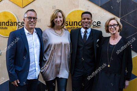 John Cooper, from left, Keri Putnam, Nate Parker, and Michelle Satter arrive at the Sundance NIGHT BEFORE NEXT Benefit at The Theatre at Ace Hotel, in Los Angeles