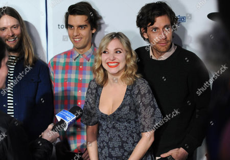 "Musicians, from left, James Valentine, Michael Reunion, Z Berg and Jason Boesel of the group JJAMZ attend the ""Touchy Feely"" premiere party at The Shop during the Sundance Film Festival on in Park City, Utah"
