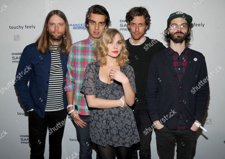 "Stock Image of Musicians, from left, James Valentine, Michael Reunion, Z Berg, Jason Boesel and Alex Greenwald of the group JJAMZ attend the ""Touchy Feely"" premiere party at The Shop during the Sundance Film Festival on in Park City, Utah"