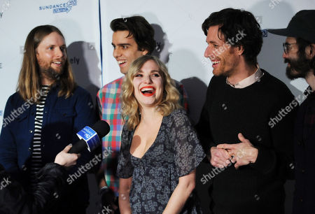 "Musicians, from left, James Valentine, Michael Reunion, Z Berg, Jason Boesel and Alex Greenwald of the group JJAMZ attend the ""Touchy Feely"" premiere party at The Shop during the Sundance Film Festival on in Park City, Utah"