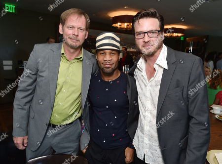 """J.D. Evermore, and from left, Johnny Ray Gill and Aden Young attend the SundanceTV luncheon and panel with the creators and cast behind their scripted original series' """"Rectify"""", """"The Honorable Woman"""" and """"The Red Road"""" for a discussion around the popularity of creator-driven television, in Los Angeles"""