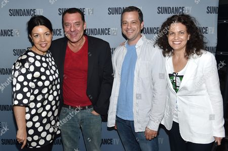 "Sarah Barnett, president of SundanceTV, and from left, Tom Sizemore, Aaron Guzikowski and Nena Rodrigue, SVP of original programming, SundanceTV, attend the SundanceTV luncheon and panel with the creators and cast behind their scripted original series' ""Rectify"", ""The Honorable Woman"" and ""The Red Road"" for a discussion around the popularity of creator-driven television, in Los Angeles"