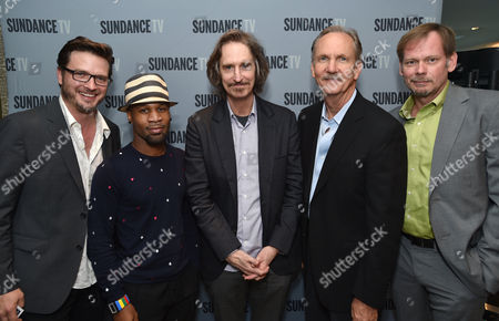 """Aden Young, and from left, Johnny Ray Gill, Ray McKinnon, Michael O'Neill and J.D. Evermore attend the SundanceTV luncheon and panel with the creators and cast behind their scripted original series' """"Rectify"""", """"The Honorable Woman"""" and """"The Red Road"""" for a discussion around the popularity of creator-driven television, in Los Angeles"""