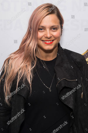 Eva Fehren attends an event to unveil Super Bowl 50 designer footballs in collaboration with the CFDA at NFL headquarters, in New York