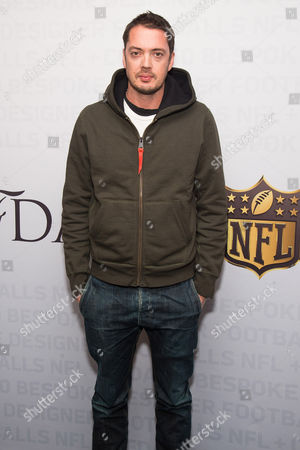 Marcus Wainwright attends an event to unveil Super Bowl 50 designer footballs in collaboration with the CFDA at NFL headquarters, in New York