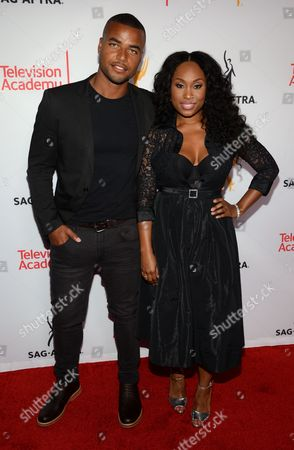 Redaric Williams, left, and Angell Conwell seen at the Television Academy's 67th Emmy Awards Dynamic and Diverse Nominee Reception at the Montage Beverly Hills, in Beverly Hills, Calif
