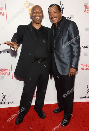 Kevin Eubanks, left, and Obba Babatunde seen at the Television Academy's 67th Emmy Awards Dynamic and Diverse Nominee Reception at the Montage Beverly Hills, in Beverly Hills, Calif