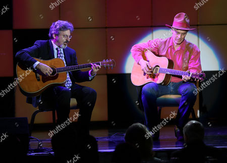 "Robert Carradine and Keith Carradine perform Look Around from the musical Will Rogers Follies at the 24th annual Alzheimer's Association ""A Night at Sardi's"" at the Beverly Hilton hotel, in Beverly Hills, Calif"