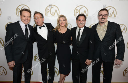 Bryan Cranston, Mark Johnson, Michelle MacLaren, Stewart Lyons, Vince Gilligan arrive at the 25th annual Producers Guild of America (PGA) Awards at the Beverly Hilton Hotel, in Beverly Hills, Calif