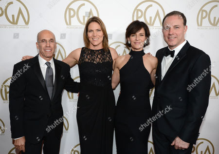 Jeffrey Katzenberg, Jane Hartwell, Kristine Belson and Kirk DeMicco arrive at the 25th annual Producers Guild of America (PGA) Awards at the Beverly Hilton Hotel, in Beverly Hills, Calif