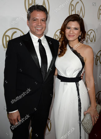 Michael De Luca and Angelique De Luca arrive at the 25th annual Producers Guild of America (PGA) Awards at the Beverly Hilton Hotel, in Beverly Hills, Calif