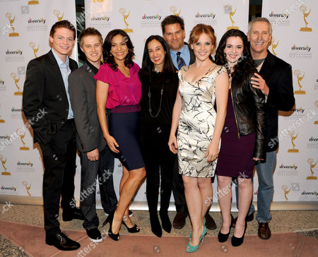 """FEBRUARY 15: (L-R) Actors Sean Berdy, Lucas Grabeel, Constance Marie, executive producer Lizzy Weiss, actors D.W. Moffett, Katie Leclerc, Vanessa Marano and executive producer Paul Stupin arrive at The Academy of Television Arts & Sciences Diversity Committee and ABC Family Present """"Switched At Birth"""" Panel Discussion on in North Hollywood, California"""