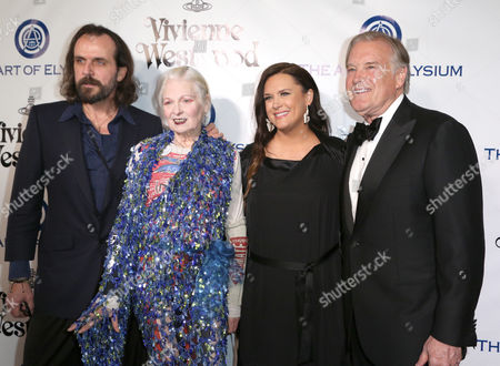Andreas Kronthaler, from left, Vivienne Westwood, Jennifer Howell, and Tim Headington arrive at The Art of Elysium's Ninth annual Heaven Gala at 3LABS, in Culver City, Calif