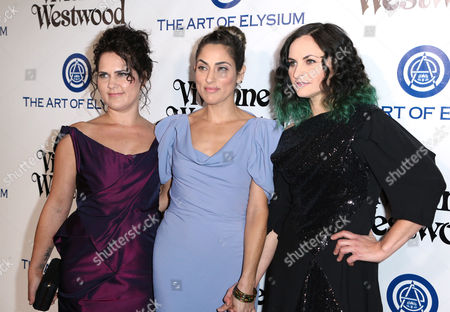 Liberty Phoenix, from left, Summer Phoenix and Rain Phoenix arrive at The Art of Elysium's Ninth annual Heaven Gala at 3LABS, in Culver City, Calif
