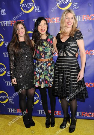 """DailyCandy's editor-in-chief, Ashley Parrish, left, chief correspondent SuChin Pak and EVP & general manager Alison Moore attend Oxygen Network's """"The Face"""" premiere party at Marquee on in New York"""