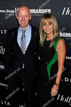 From Left, Chris McCumber and Bonnie Hammer, Chairman of the NBCUniversal Cable Entertainment Group seen on the red carpet for The Hollywood Reporter Celebrates the 35 Most Powerful People in Media, on April 10th, 2013, in New York
