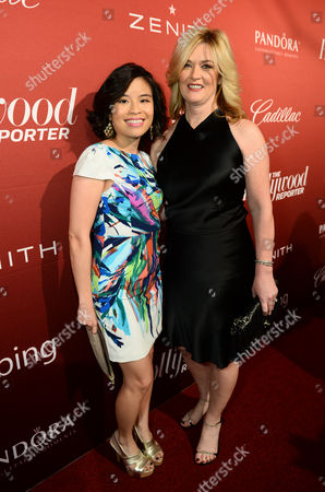 From left, Melody Lee, director of brand and reputation strategy for Cadillac, and Pam Fletcher, executive chief engineer for Cadillac ELR attend The Hollywood Reporter Nominees Night presented by Cadillac, Bing, Delta, Pandora jewelry, Qua, and Zenith, at Spago, in Beverly Hills, Calif