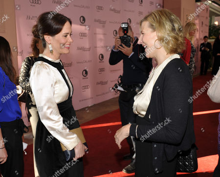 Actress Sarah Paulson, left, and President of Time Warner's HBO Entertainment, Sue Naegle arrive at The Hollywood Reporter's 21st Annual Women in Entertainment Power 100 breakfast presented by Lifetime on in Beverly Hills, Calif