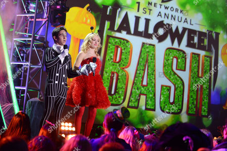 """Zachary Gordon, left, and Peyton List appear onstage at """"Hub Network's First Annual Halloween Bash"""", at the Barker Hanger in Santa Monica, Calif. The star-studded special will be broadcasted on the Hub Network on Saturday Oct. 26, 2013"""