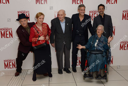 """Stock Picture of L-R) American Actors,Bill Murray,Holliday Grainger,with Harry Ettlinger,George Clooney and Anne Oliver Bell attending the UK Premiere of """"The Monuments Men"""" - Inside Arrivals at the Odeon,Leicester Square in London on Tuesday 11 February, 2014"""