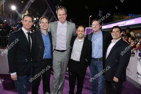 """Jason Cassidy, president of marketing, Open Road Films, Tom Ortenberg, CEO, Open Road Films, Bill O'Dowd, CEO, Dolphin Entertainment, Scott Manson, chief operating officer of Scooter Braun Projects, Steven Andriuzzo, chief financial officer, Open Road Films and Elliot Kleinberg, chief operating officer, Open Road Films, seen at the World Premiere of Open Road's """"Justin Bieber's Believe"""" presented by Teen Vogue and sponsored by Clearasil, on in Los Angeles"""