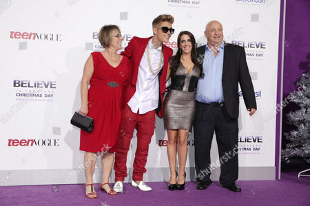 "Diane Dale, Justin Bieber, Pattie Mallette and Bruce Dale seen at the World Premiere of Open Road's ""Justin Bieber's Believe"" presented by Teen Vogue and sponsored by Clearasil, on in Los Angeles"