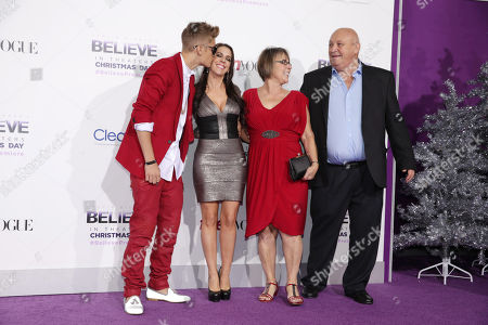 "Justin Bieber, Pattie Mallette, Diane Dale and Bruce Dale seen at the World Premiere of Open Road's ""Justin Bieber's Believe"" presented by Teen Vogue and sponsored by Clearasil, on in Los Angeles"