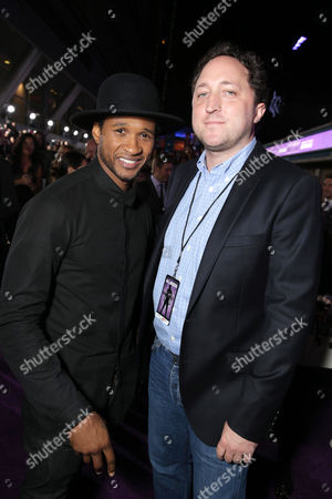 """Usher Raymond and Scott Manson, chief operating officer of Scooter Braun Projects, seen at the World Premiere of Open Road's """"Justin Bieber's Believe"""" presented by Teen Vogue and sponsored by Clearasil, on in Los Angeles"""