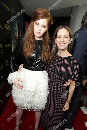 Producer Allison Shearmur and Ellie Bamber seen at The World Premiere of Screen Gems' 'Pride and Prejudice and Zombies' at Harmony Gold, in Hollywood, CA
