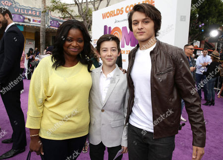 """Stock Photo of Octavia Spencer, Griffin Gluck and Nolan Sotillo seen at the Twentieth Century Fox and DreamWorks Animation Los Angeles Premiere of """"Home"""" held at the Regency Village Theatre, in Westwood, Calif"""